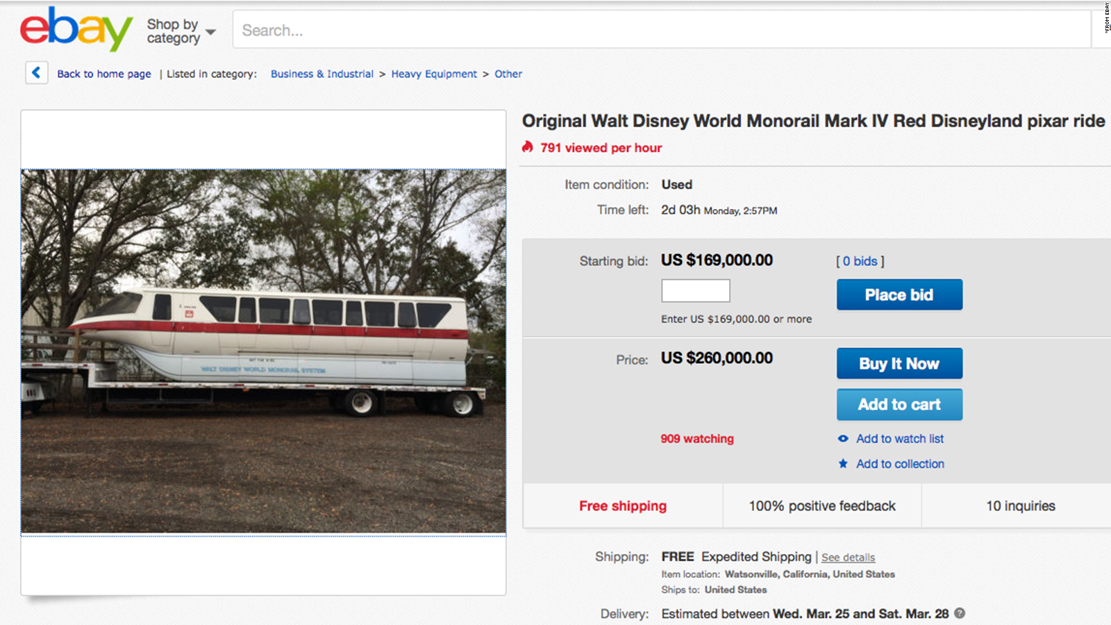 Walt Disney World Monorail Cab For Sale On Ebay Cnn Travel