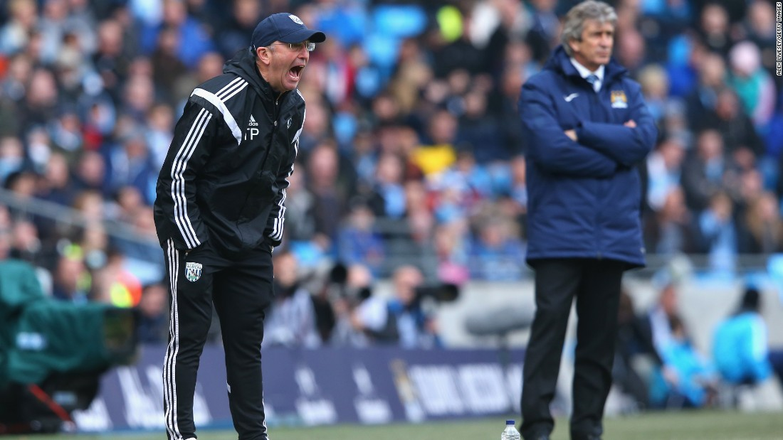 West Brom manager Tony Pulis (foreground) was unimpressed after Swarbrick appeared to punish the wrong player, the second time such an incident has occurred in an EPL match in less than a month.