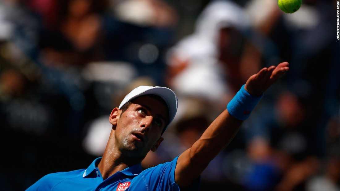 Novak Djokovic serves during his comfortable semifinal victory over Andy Murray at Indian Wells.