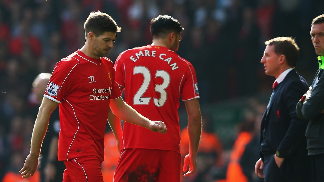 Gerrard traipses off after his second half dismissal at Anfield in the 2-1 defeat to Manchester United.