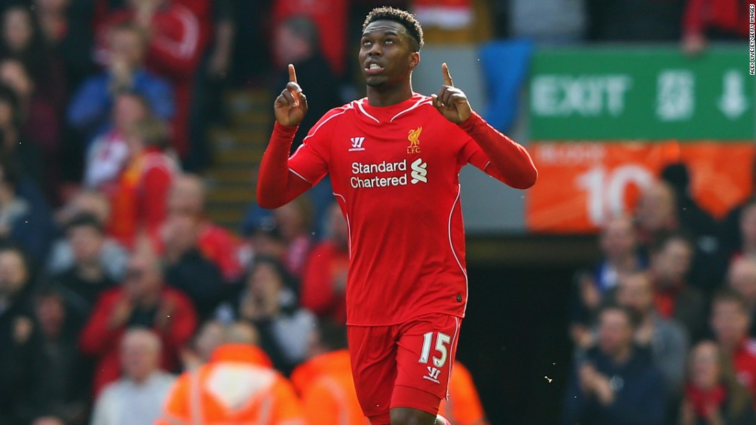 Daniel Sturridge celebrates after pulling a goal back for Liverpool at Anfield.