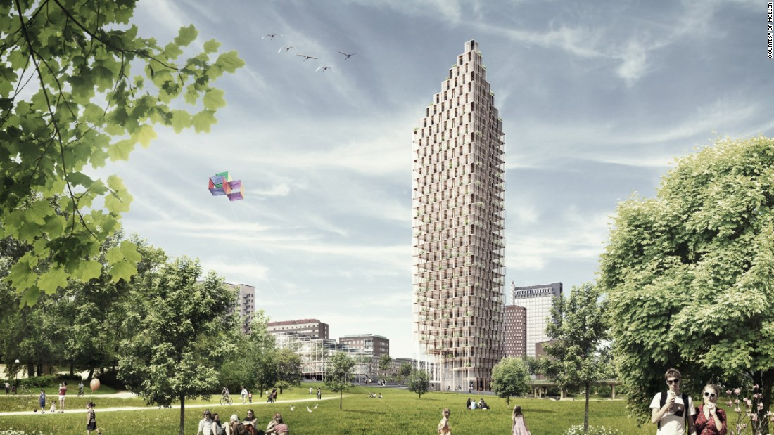 Architects C.F. Moller have designed a 34-story, wood-framed residential tower for the center of Stockholm, as part of a design competition.