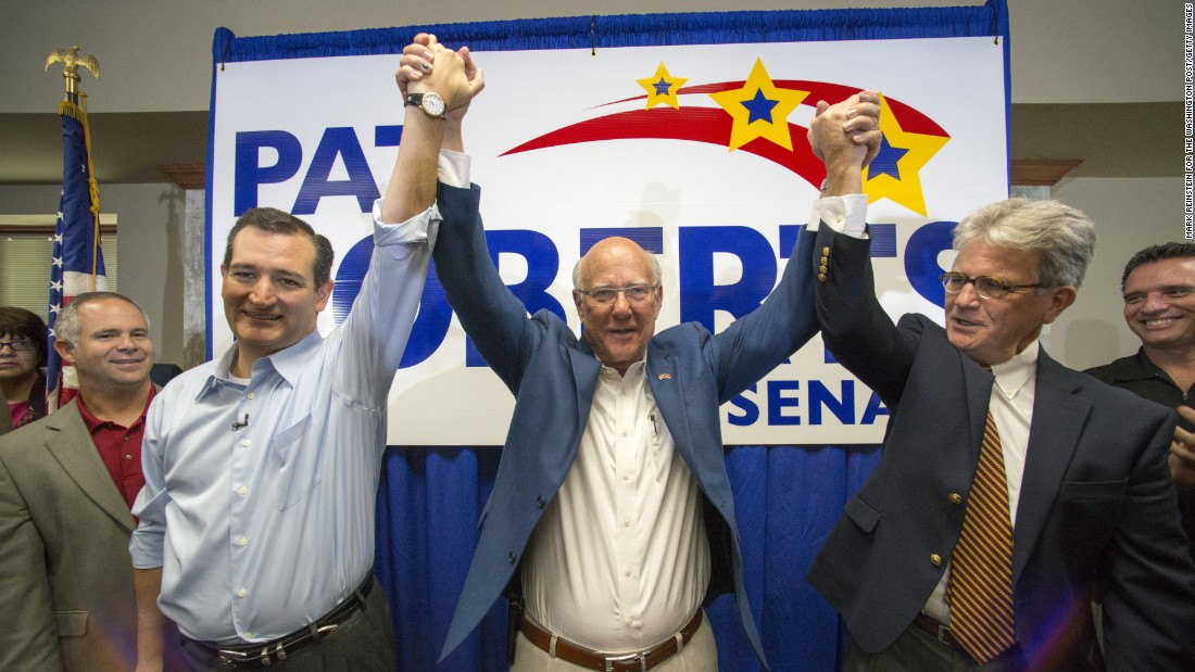 U.S. Sen. Pat Roberts, center, is joined by Cruz and former Sen. Tom Coburn at a rally in WIchita, Kansas, in October.