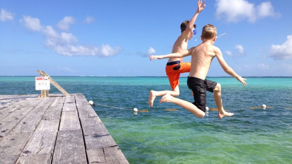 Courtney Hershberger took this shot of her sons Ty and Luke jumping off the dock at Las Terrazas resort on Ambergris Caye. It was Christmas Day 2013. Ambergris Caye is Belize's largest island.