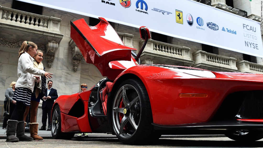 A LaFarrari, which costs in excess of the $1.5 million, was showcased in front of the New York Stock Exchange last October.