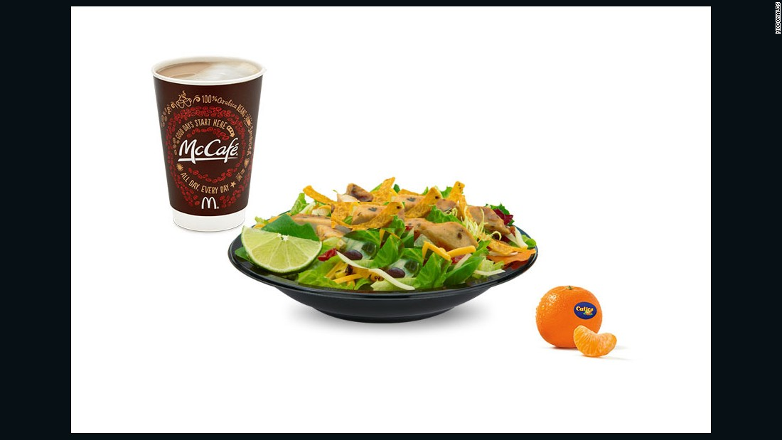 """I would select the Premium Southwest Salad without chicken (I'm a vegetarian), a McCafe Nonfat Medium Latte and a side order of cuties.<br /><br />All of this would total to 350 calories, 70g fat, 55g carbs, 8g fiber, 35g sugar and 21g protein. <br />This meal would be satisfying, flavorful, hit most of the food group targets and one that I would enjoy."" <br /><br />-- <a href=""http://www.vandanasheth.com/"" target=""_blank"">Vandana Sheth</a>, RDN, CDE, registered dietitian nutritionist and spokesperson for the Academy of Nutrition and Dietetics"