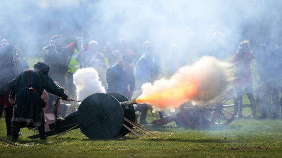 Members of a re-enactment group perform a 21-gun salute on March 22, during a ceremony for Richard III at the Bosworth Battlefield Heritage Center in Nuneaton, England.