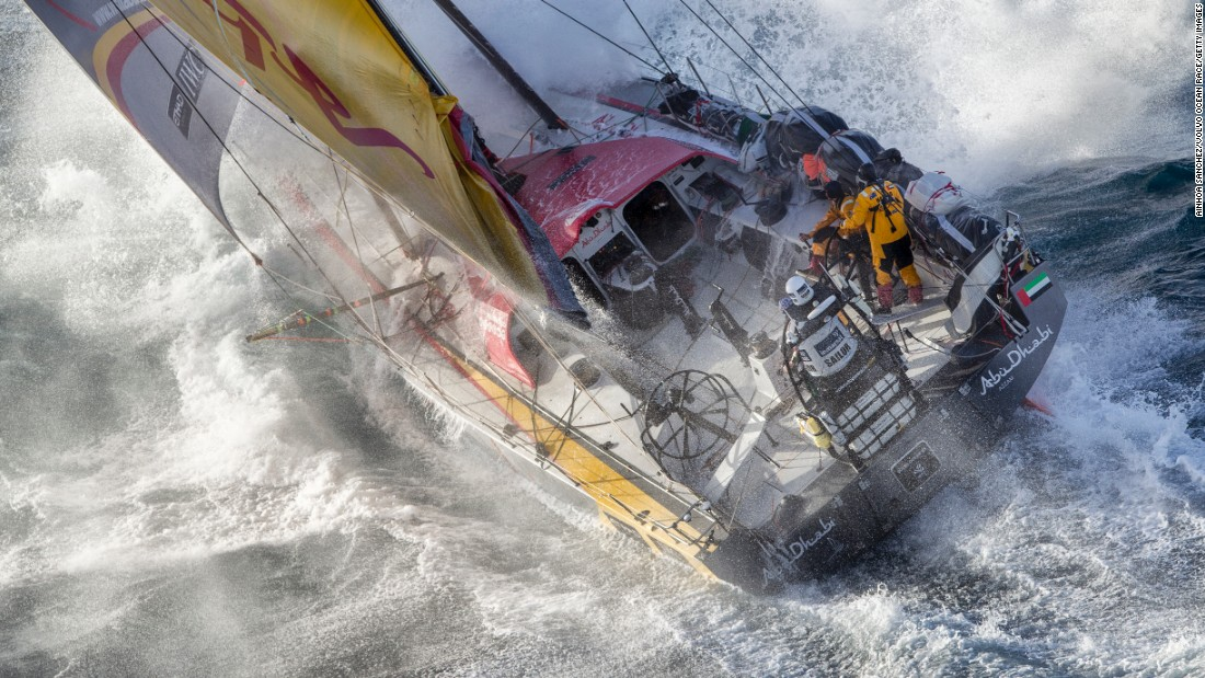 The Abu Dhabi Ocean Racing team copes with rough waters as it passes East Cape, the easternmost point of New Zealand, during the fifth stage of the Volvo Ocean Race on Wednesday, March 18. The ocean marathon, which started in October, visits 11 ports in 11 countries over nine months.