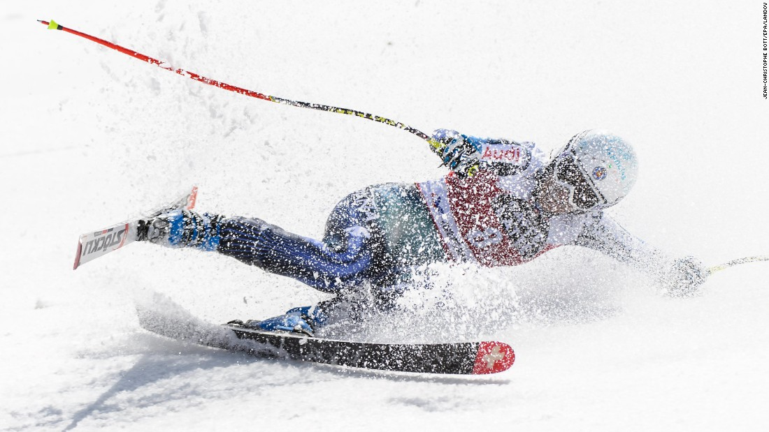Spanish skier Carolina Ruiz Castillo falls after her downhill run in the World Cup Finals on Wednesday, March 18. She finished sixth in the event, which took place in Meribel, France.