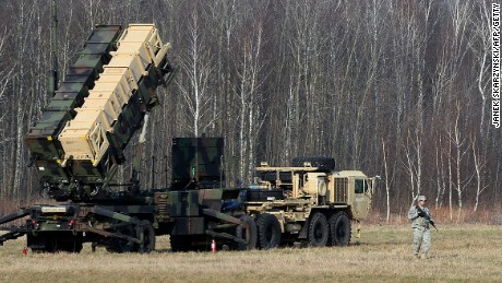 U.S. troops at a launching station for Patriot air and missile defense in Poland March 21.