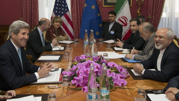 U.S. Secretary of State John Kerry, second left, holds a meeting with Iran's Foreign Minister Mohammad Javad Zarif, right, over Iran's nuclear program, in Lausanne, Switzerland, Wednesday March 18, 2015.