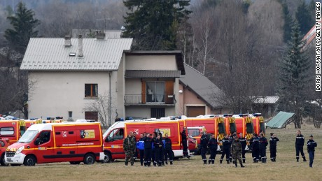 Emergency response teams gather in Seyne, France, on March 24, near the site where the plane crashed in the French Alps.