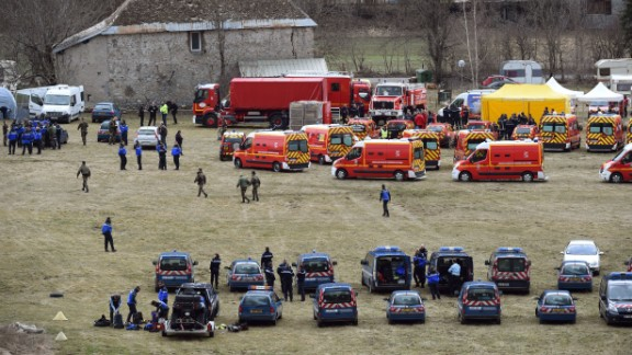 Response teams gather in Seyne-les-Alpes on March 24.