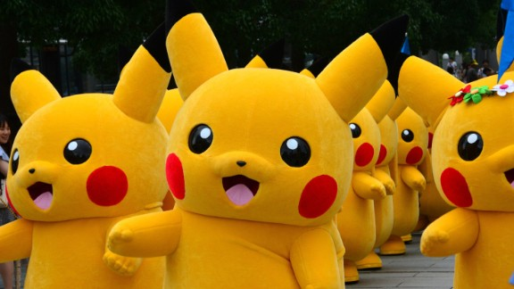 Dozens of Pikachu characters, the famous character of Nintendo