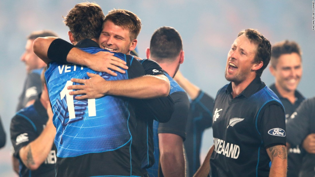 "New Zealand's players celebrate after its win. McCullum told the crowd the Kiwi players were enjoying ""the greatest time of our lives."" It will face either India or fellow hosts Australia in Sunday's final."