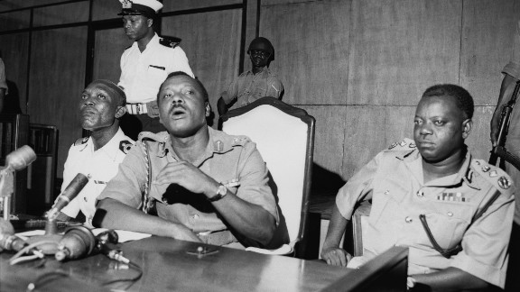 After gaining its independence in 1960, Nigeria becomes a republic in 1963, with Nnamdi Azikiwe assuming the role of president. Two years later a federal election takes place, but many question the transparency of the vote and suggest fraud. Major General Johnson Aguiyi-Ironsi (pictured in the center) steps into the power vacuum and mounts a coup, starting what would become over three decades of intermittent military rule.