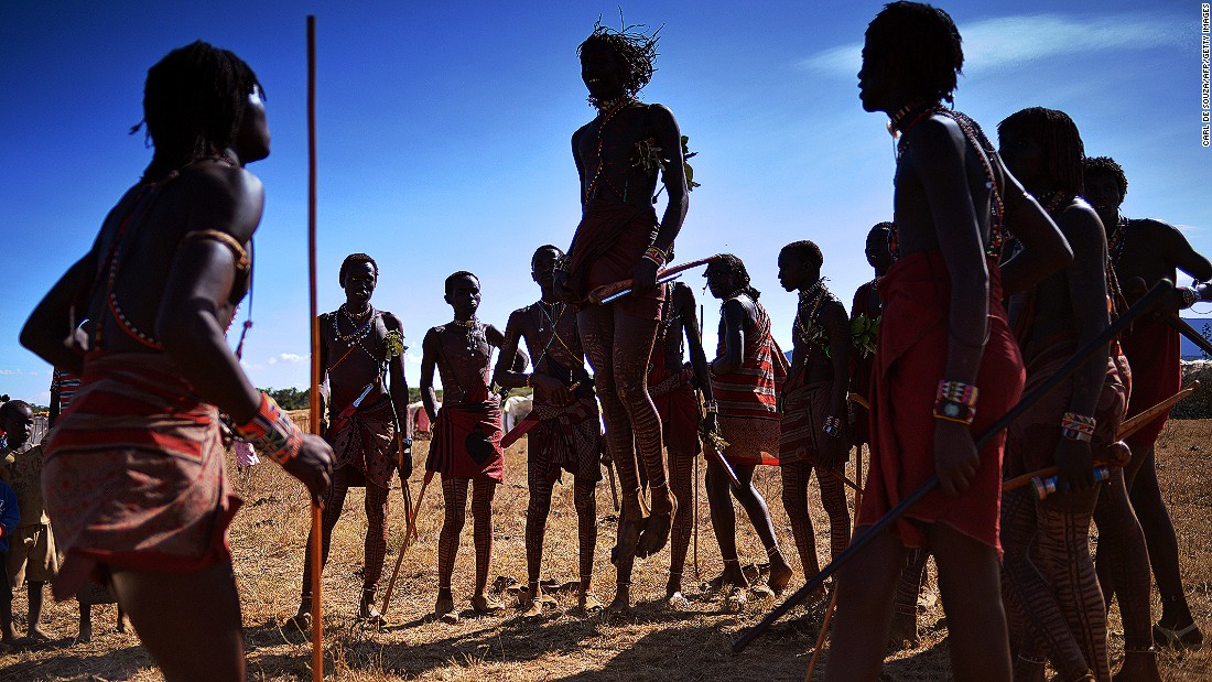 "The ""adumu"" (""jumping dance"") is a Maasai warrior rite of passage. Warriors who jump highest can be considered as future chiefs."