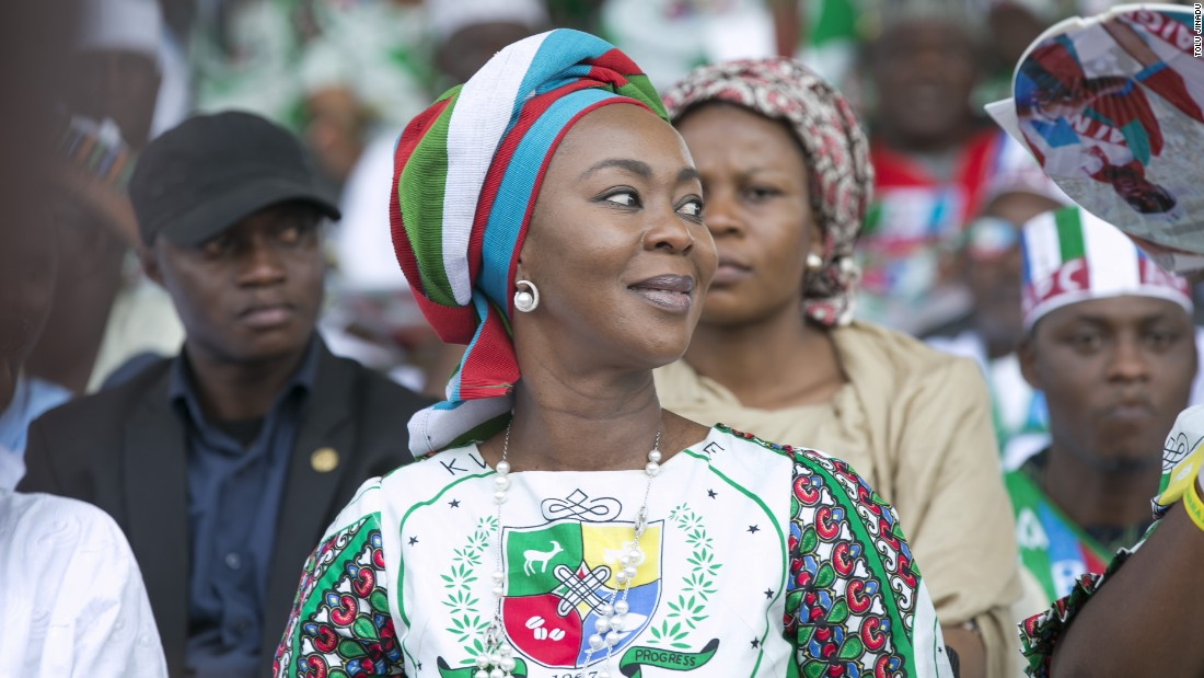 An APC supporter wearing the party's coat of arms at the rally, January 30.<br />