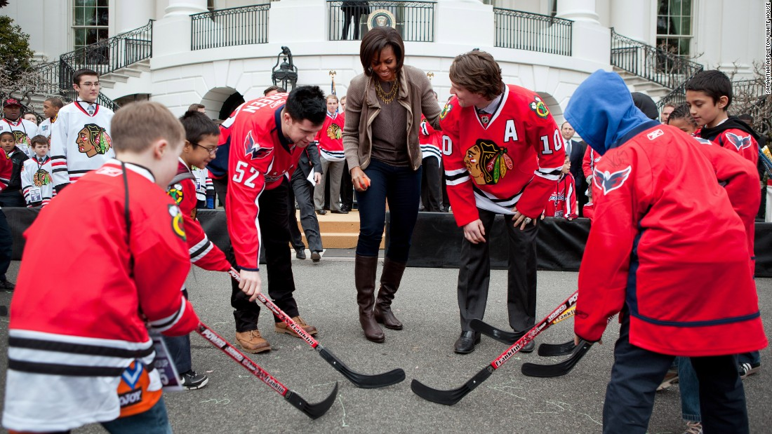 While Let's Move! has made strides in helping kids become healthy, the statistics are still daunting. Here she attends a partnership event with Chicago Blackhawks and Washington Capitals players on the South Lawn of the White House in 2011.