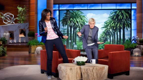 "First lady Michelle Obama and Ellen DeGeneres dance during a taping of ""The Ellen DeGeneres Show"" marking the second anniversary of Let"