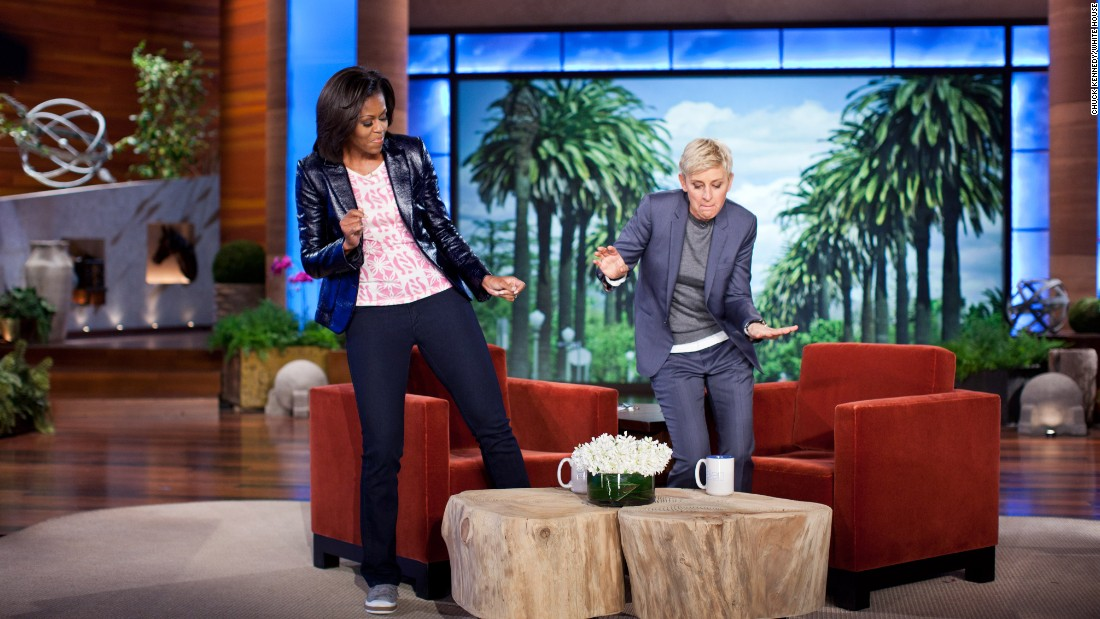 "First lady Michelle Obama and Ellen DeGeneres dance during a taping of ""The Ellen DeGeneres Show"" marking the second anniversary of Let's Move! in Burbank, California, in 2012."