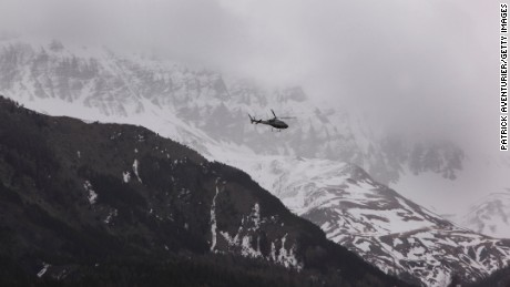 Rescue teams arrive near the site of the Germanwings Flight 9525 plane crash in the French Alps on Tuesday, March 24.