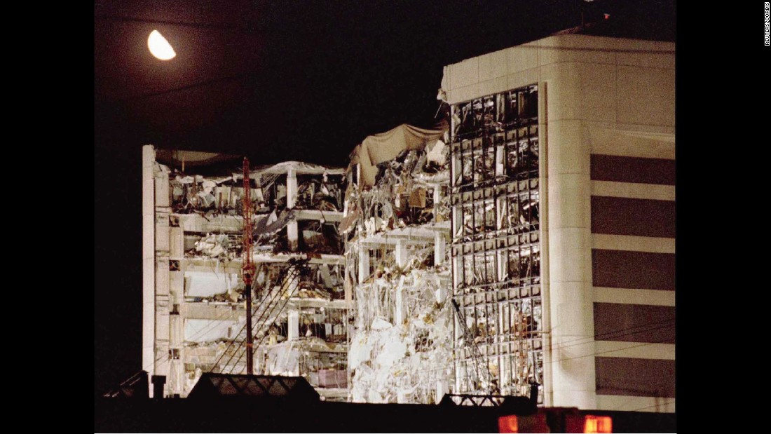 The building wreckage on April 21, two days after the bombing.