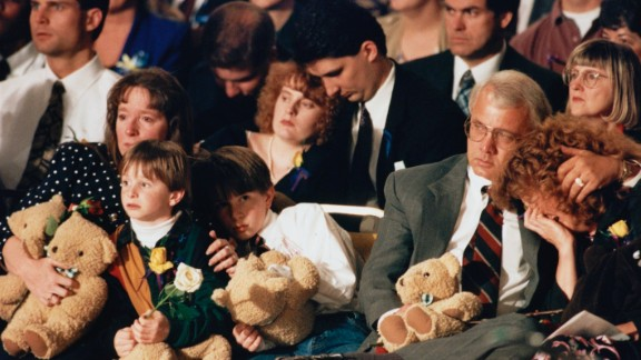 A prayer service is held in Oklahoma City in April 1995.