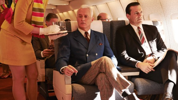 """In honor of the final episodes of the last season of """"Mad Men"""" we look back at the television show's wardrobe, which reflects the 1960s and inspired modern looks. One thing that hasn't changed much: the look of Don Draper, played by Jon Hamm, right."""