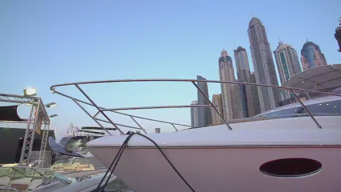 A luxury boat is pictured at the 2015 Dubai International Boat Show.