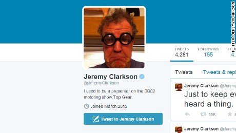 Jeremy Clarkson changed his Twitter profile bio at lightning speed.