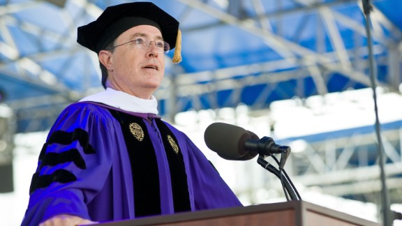 Comedian Stephen Colbert addressed graduates at Wake Forest University in Winston-Salem, North Carolina, on May 18.