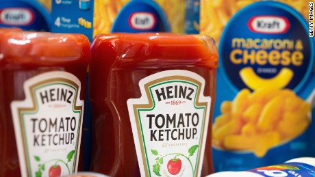 CHICAGO, IL - MARCH 25: In this photo illustration, Kraft and Heinz products are shown on March 25, 2015 in Chicago, Illinois. Kraft Foods Group Inc. said it will merge with H.J. Heinz Co. to form the third largest food and beverage company in North America with revenue of about $28 billion. (Photo by Scott Olson/Getty Images)