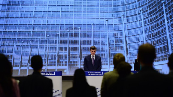 Andrus Ansip, European commissioner for Digital Single Market, marks a moment of silence March 25 at the European Commission in Brussels, Belgium.