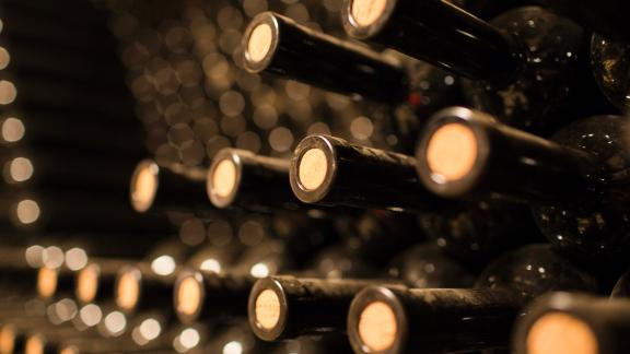 PAREKKLISIA, CYPRUS - NOVEMBER 16:  Wine bottles are stacked in a celler at the Hadjiantonas Winery on November 16, 2013 in Parekklisia, Cyprus. With wine production averaging between 35,000 and 100,000 bottles a year at the winery