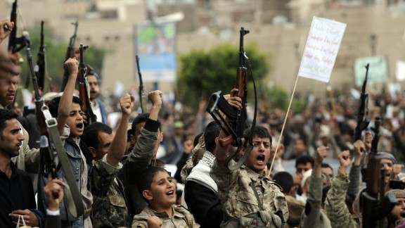 Yemeni supporters of the Houthi movement attend a demonstration against Saudi military operations Thursday, March 26, in Sanaa.