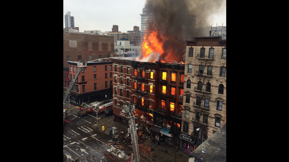 Fire can be seen enveloping much of the building in this image taken from Instagram.