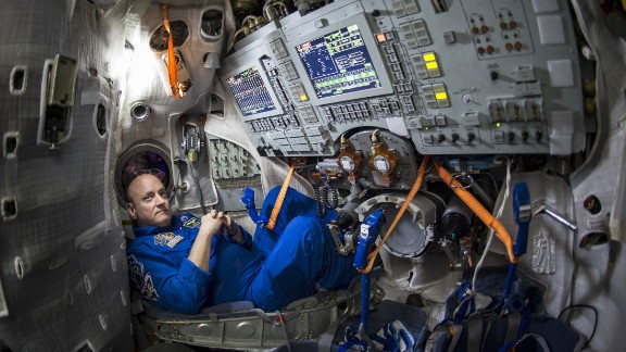 Kelly is seen inside a Soyuz simulator at the Gagarin Cosmonaut Training Center in Star City, Russia, on Thursday, March 5.