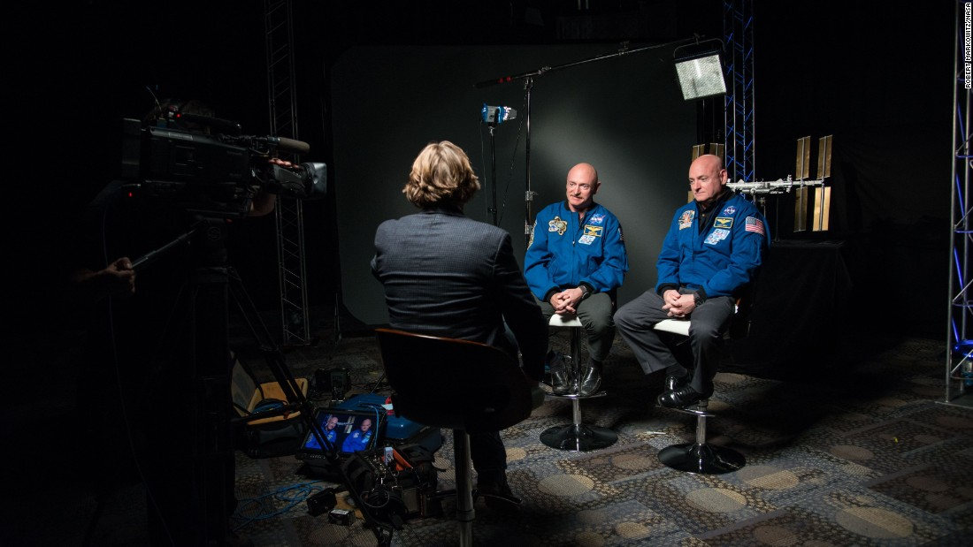 "Kelly and his twin brother, retired astronaut Mark Kelly, speak to media outlets about the one-year mission on January 19. Mark Kelly has volunteered for NASA's ""Twins Study"" to see how the identical twins change over the year in two very different environments."