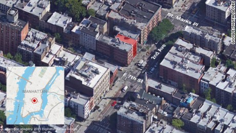 The location of the building collapse in New York's East Village.
