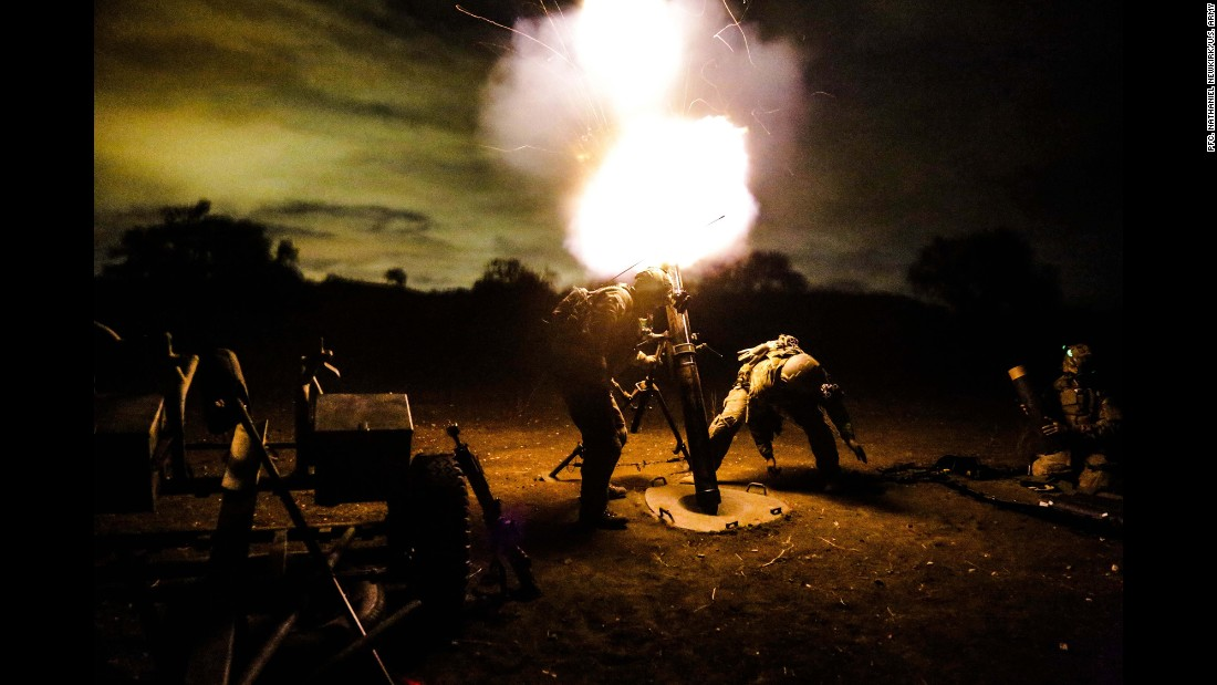 U.S. Army Rangers assigned to 2nd Battalion, 75th Ranger Regiment, fire a 120 mm mortar during a tactical training exercise January 30, 2014, at Camp Roberts, California. Rangers train constantly to maintain the highest possible level of tactical proficiency.