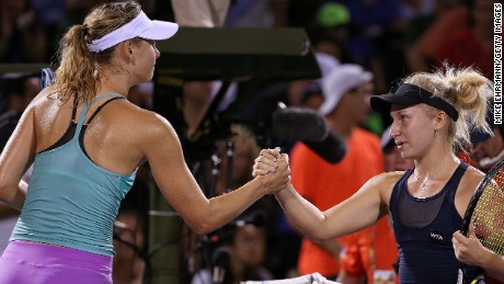 Maria Sharapova, left, suffered her earliest exit at the prestigious Miami Open in 12 years.