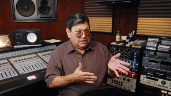 Selena's father, Abraham Quintanilla, taught his children how to sing and play Tejano music. He was also their band manager. He's shown in 2011 at the Corpus Christi studio where she made her last recording.