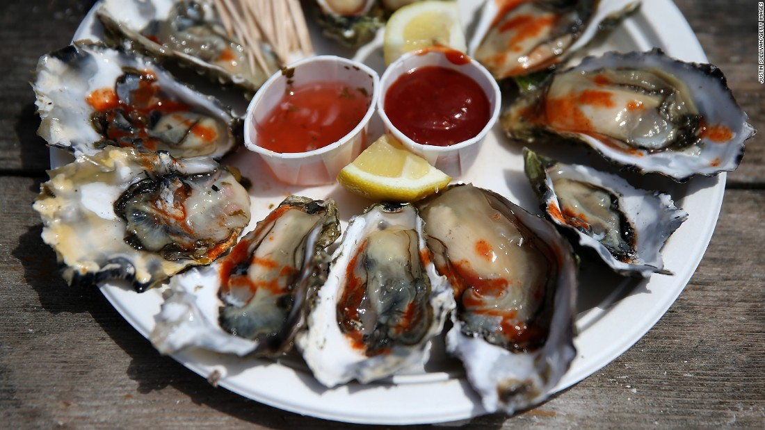 Oysters are high in zinc, which helps regulate the immune system and heal wounds.
