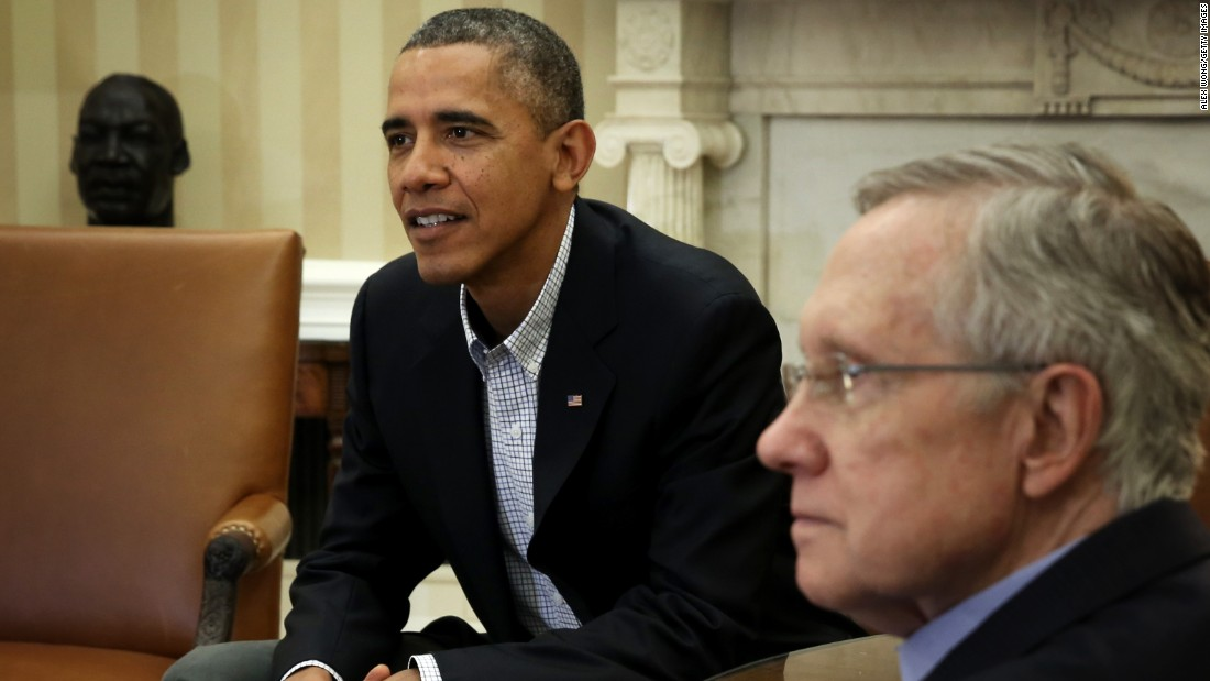 President Barack Obama meets with Senate Democratic leadership, including Reid, to discuss the government shutdown on October 12, 2013.