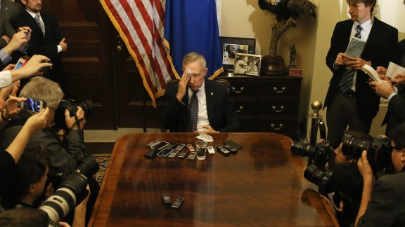 Reid speaks during a pen and pad session with reporters at the U.S. Capitol on January 22. Reid described the eye injury he suffered over the Christmas break.