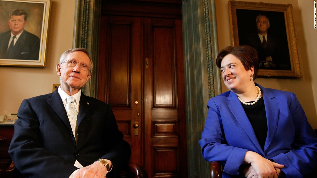 U.S. Supreme Court nominee and Solicitor General Elena Kagan meets with Reid as she visits members of the Senate on Capitol Hill on May 12, 2010.