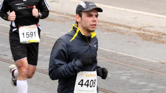 Caption:FRANKFURT, GERMANY - MARCH 14:(EXCLUSIVE COVERAGE)(EDITOR'S NOTE: This photo is available exclusively through Getty Images except in Germany) In this photo released today, co-pilot of Germanwings flight 4U9525 Andreas Lubitz participates in the Frankfurt City Half-Marathon on March 14, 2010 in Frankfurt, Germany. Lubitz is suspected of having deliberately piloted Germanwings flight 4U 9525 into a mountain in southern France on March 24, 2015 and killing all 150 people on board, including himself, in the worst air disaster in Europe in recent history. (Photo by Getty Images)