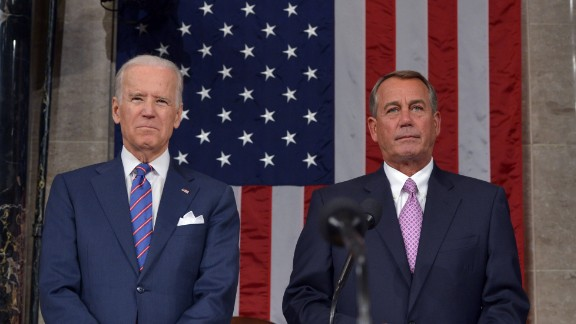 U.S. Vice President Joe Biden and Speaker of the House John Boehner await the arrival of President Barack Obama for the State of The Union address on January 20 in the House Chamber of the Capitol.