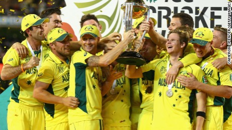 Michael Clarke and the Australia team lifted the World Cup after a seven-wicket win over New Zealand.